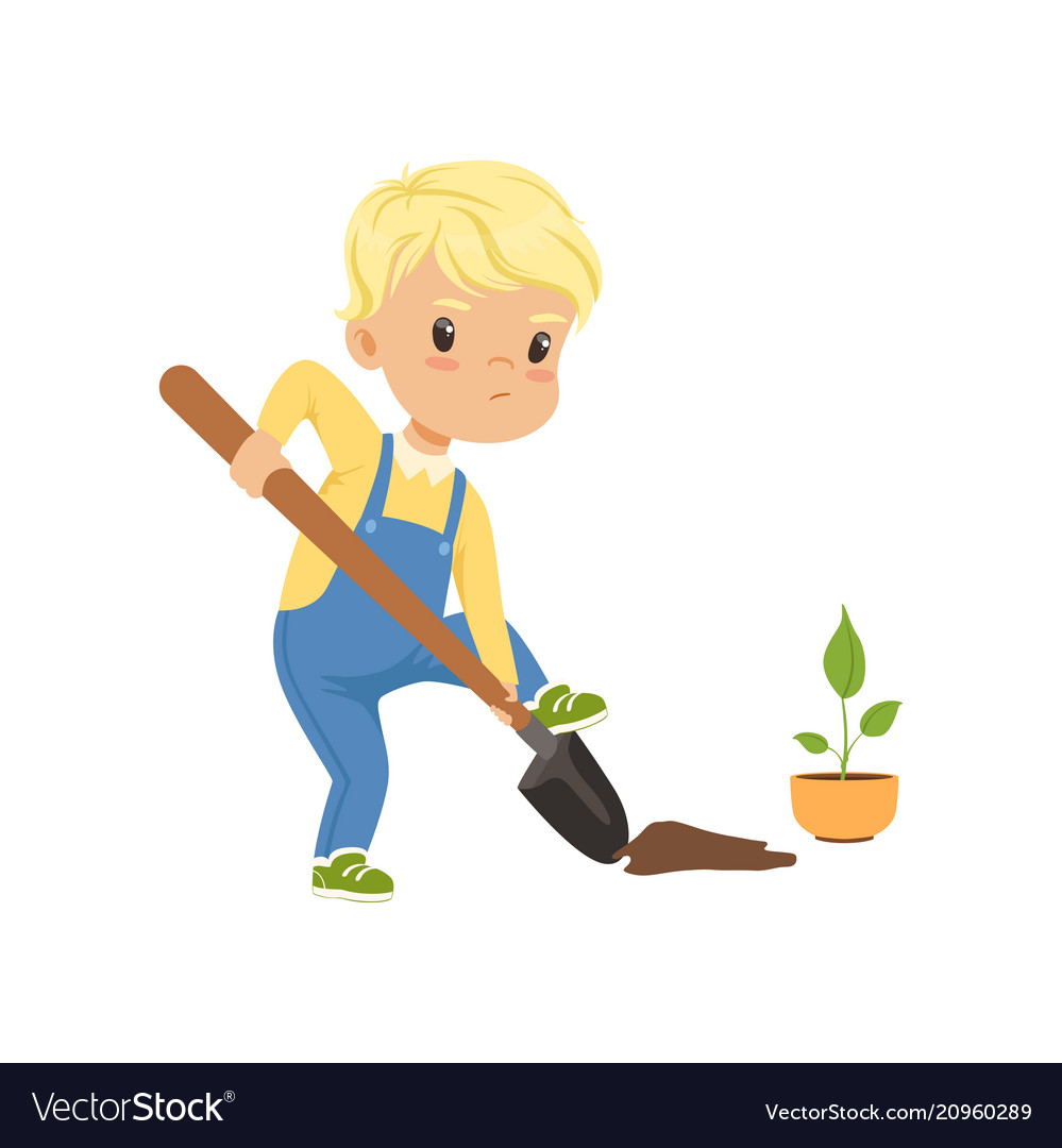 Cute little boy character digging the hole by