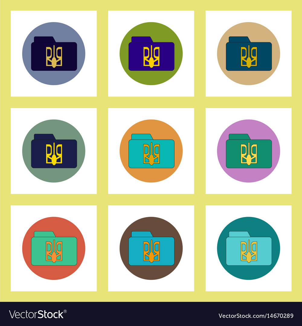 Flat icons set of ukrainian national items concept