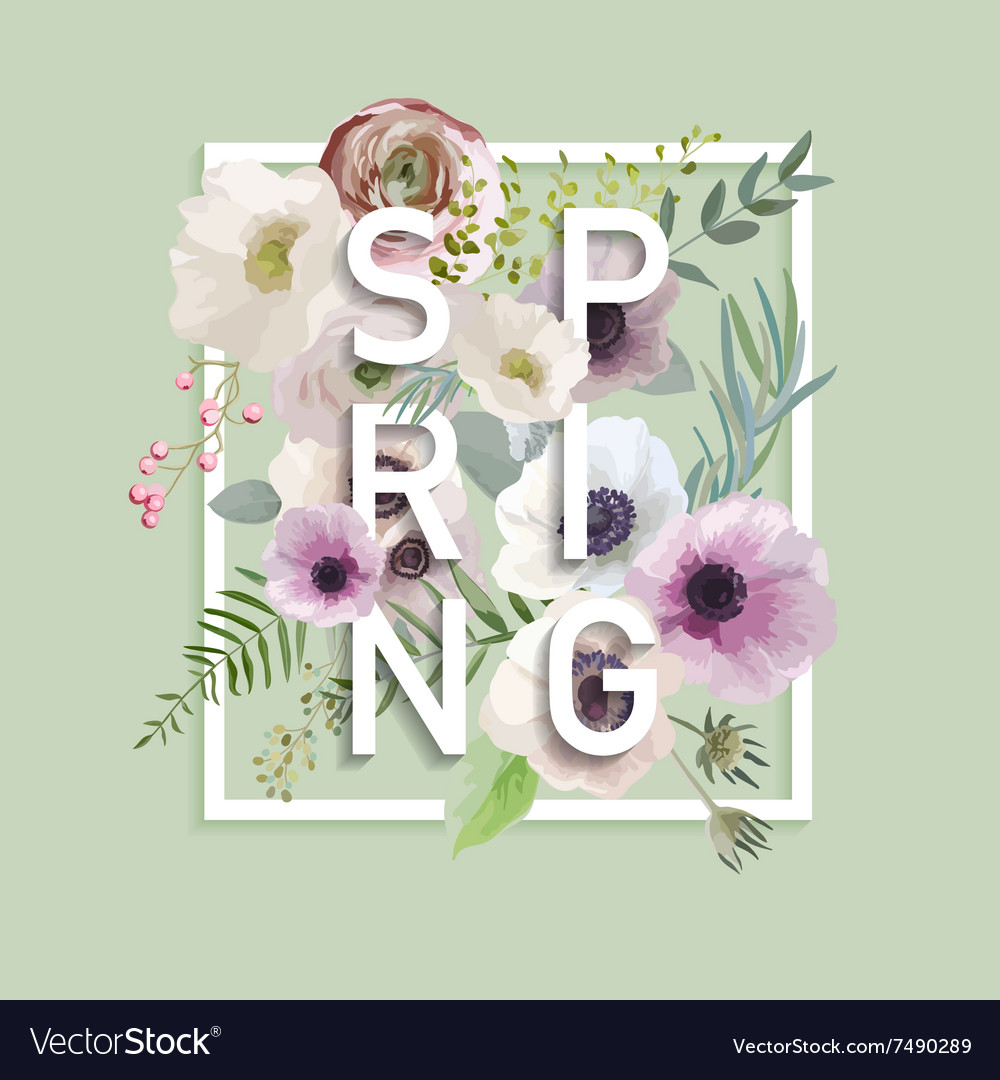 Floral spring graphic design with anemone flower floral spring graphic design with anemone flower vector image izmirmasajfo