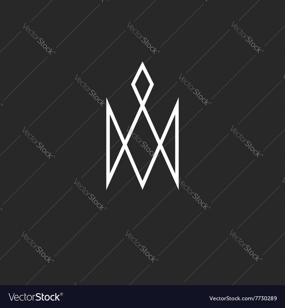 Monogram crown logo royal cute princess symbol vector image