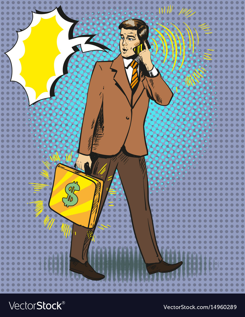 Pop art of businessman talking