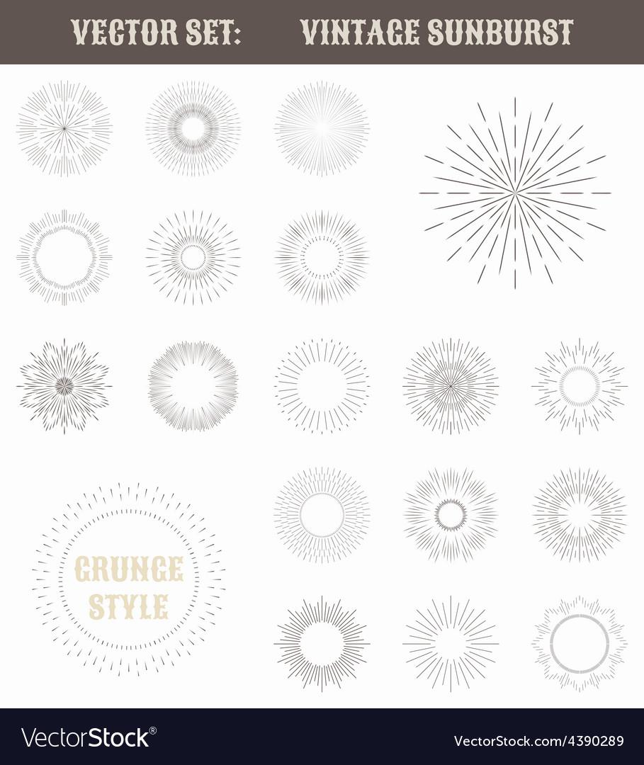 Set of vintage sunburst Geometric shapes and