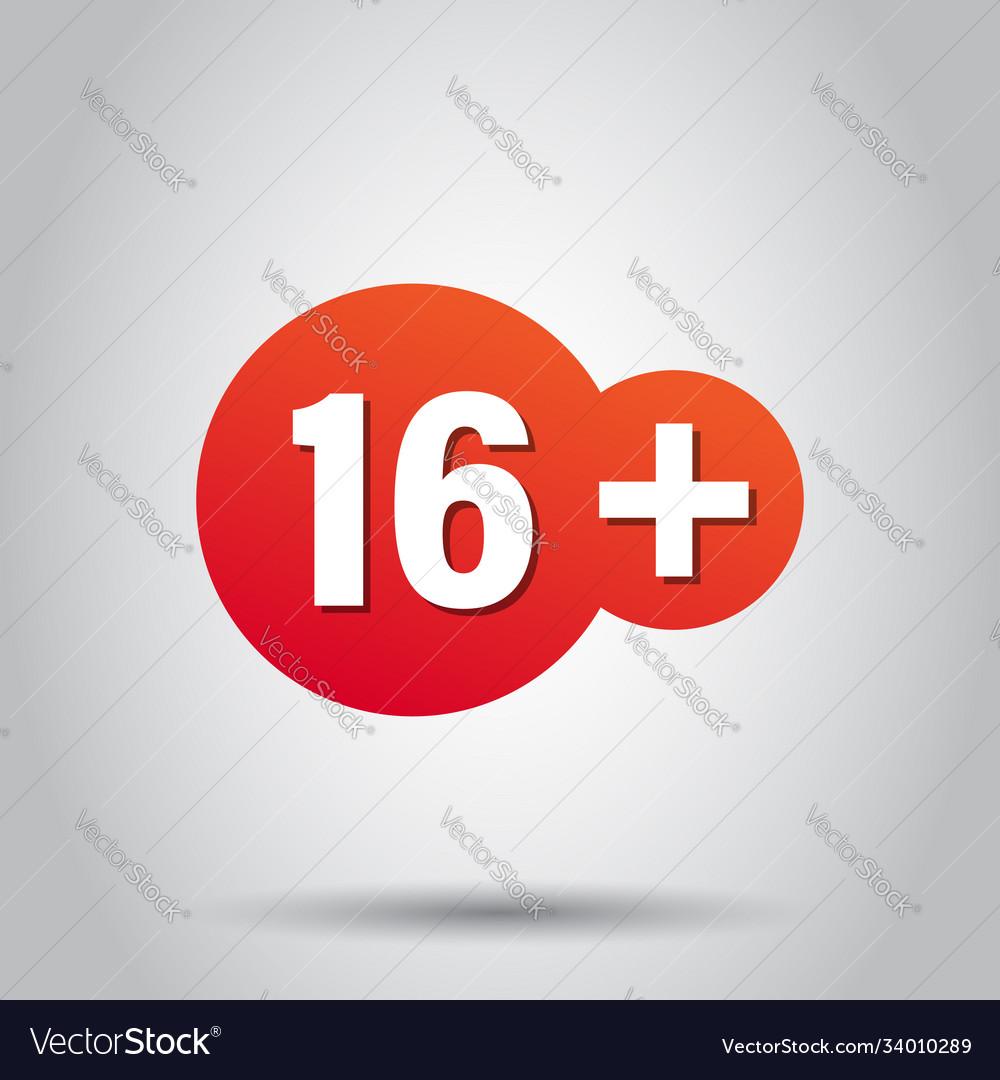 Sixteen plus icon in flat style 16 on white