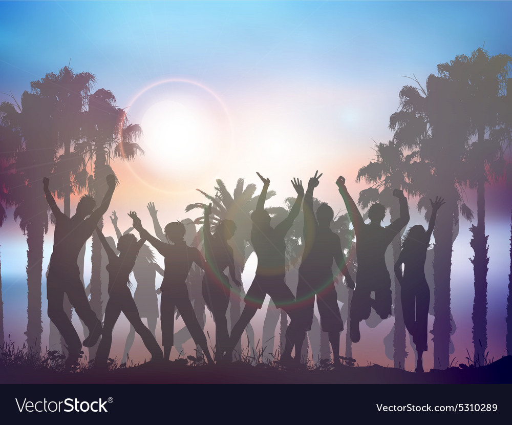 Sunset party background with palm trees vector image