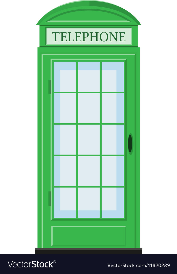 Telephone booth in green color