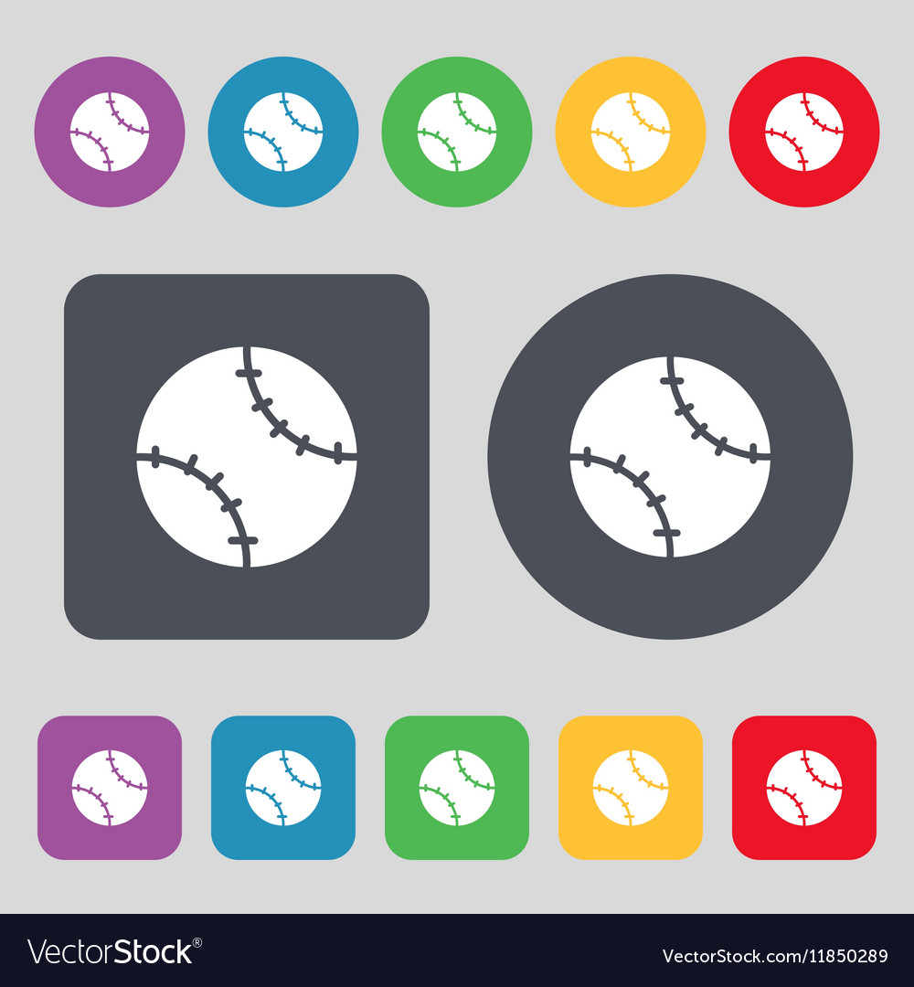 Tennis ball icon sign A set of 12 colored buttons