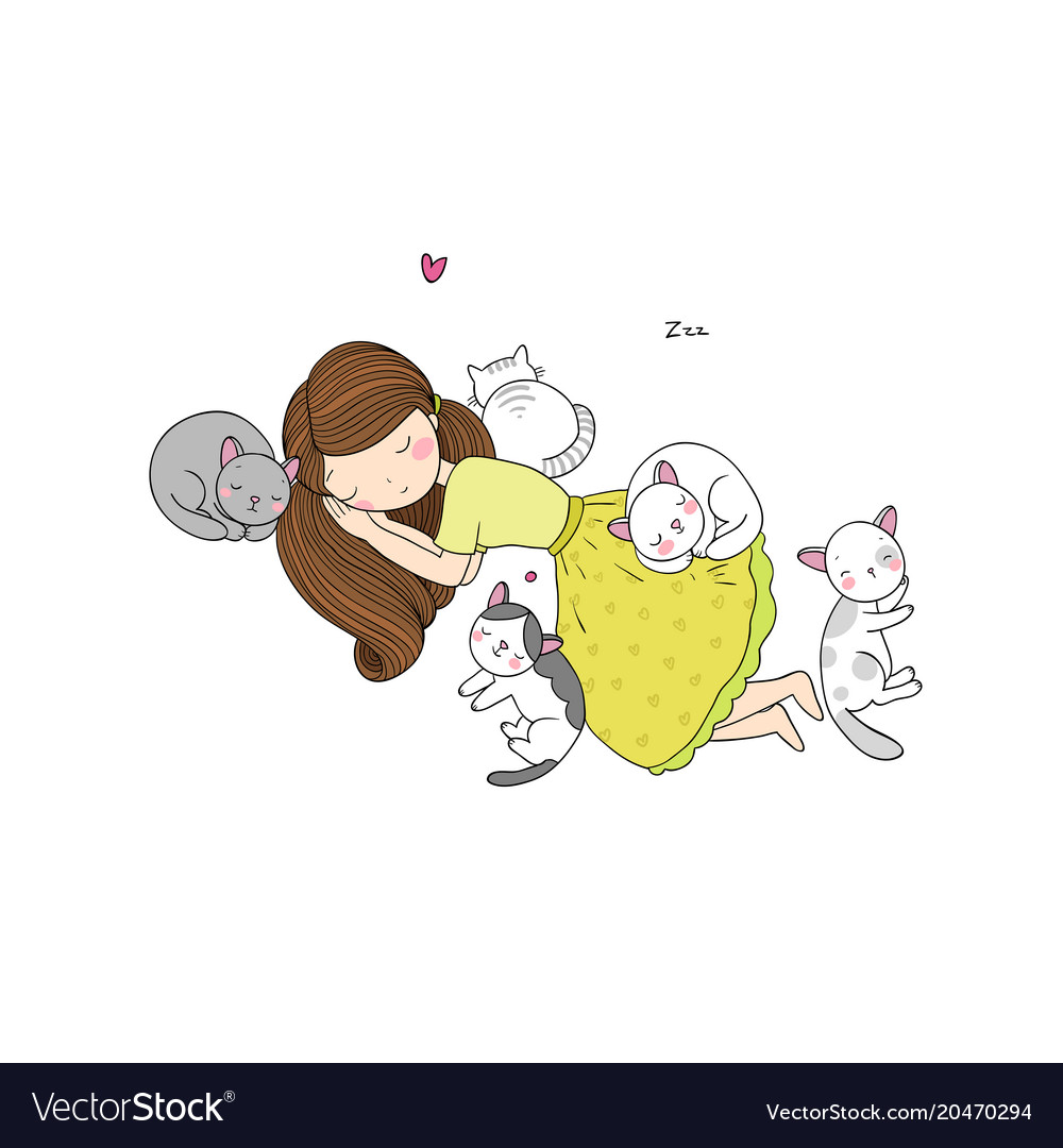 A cartoon girl and cute cats sleeping lovely pets vector image