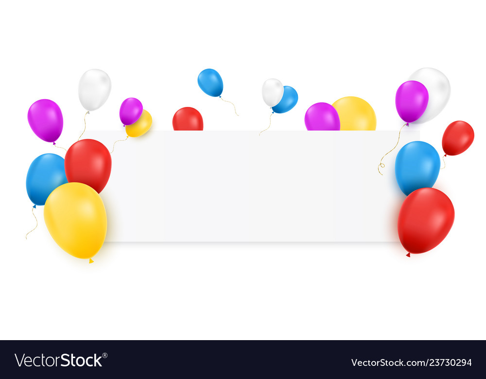 Blank banner with color balloons
