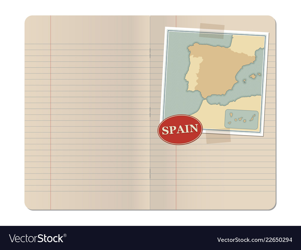 Blank stapled lines notebook with map of spain