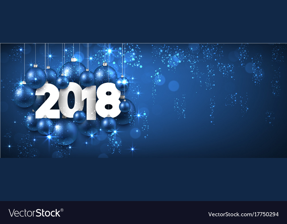 blue shining 2018 new year banner vector image