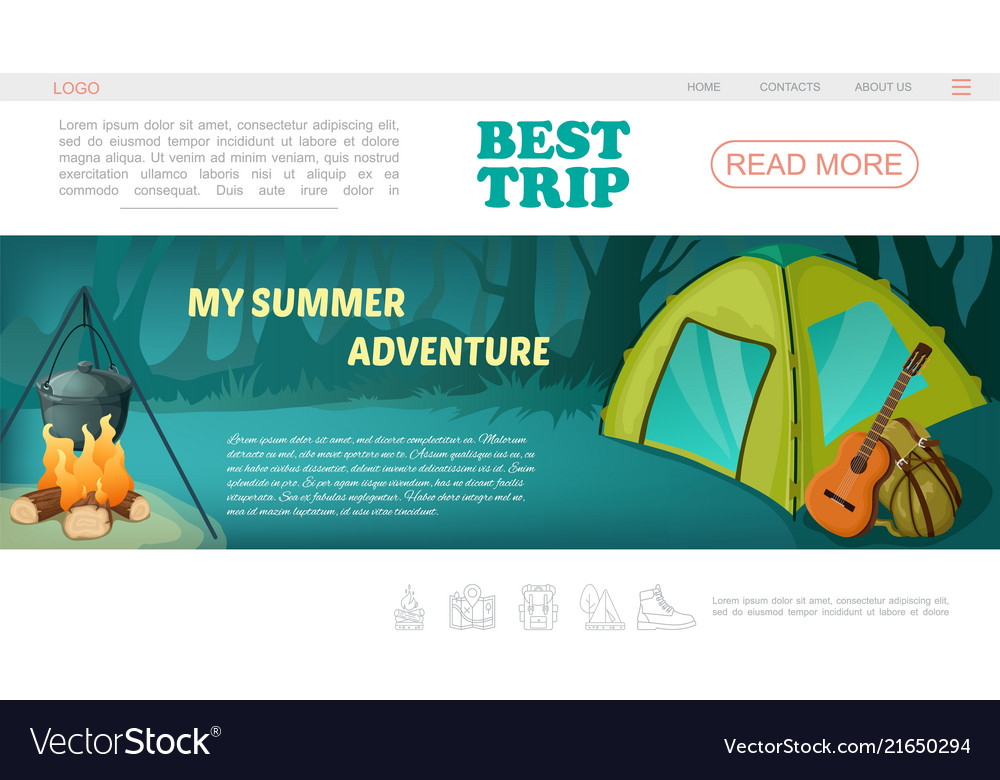 Cartoon camping web page template