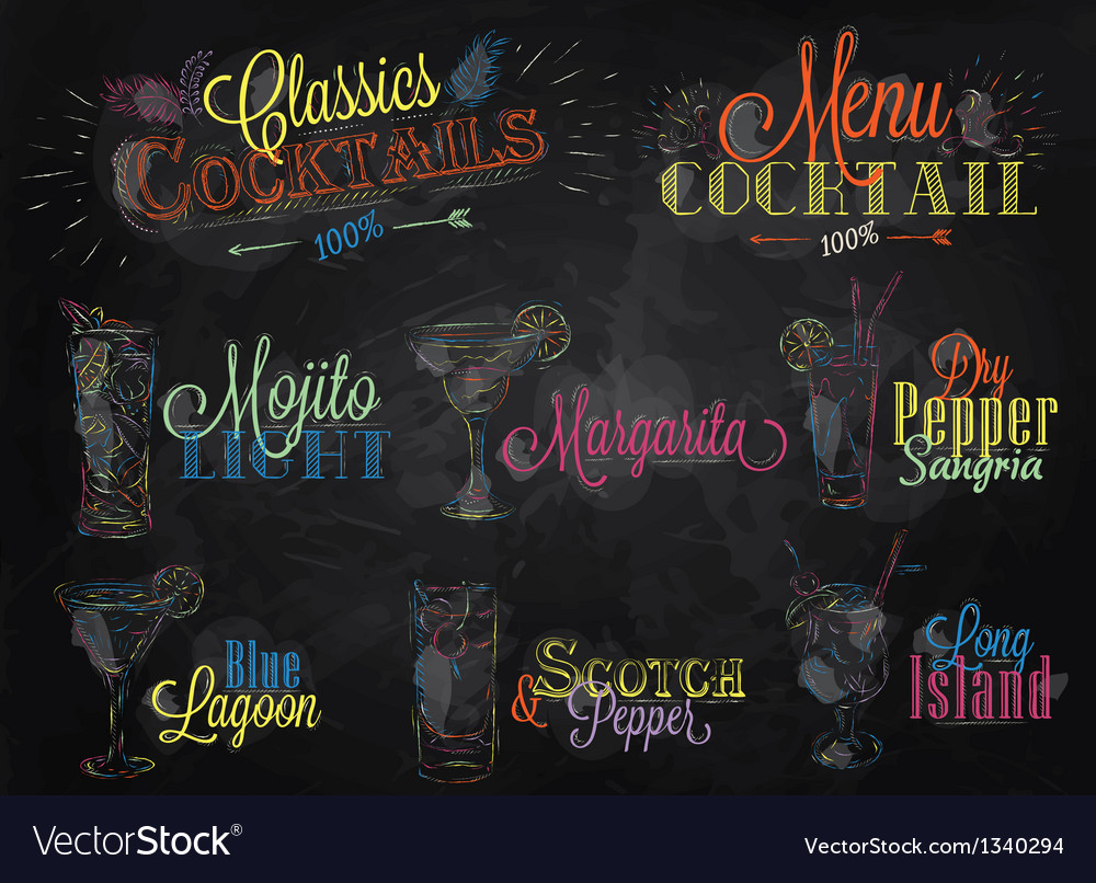 Cocktails colored chalk vector image