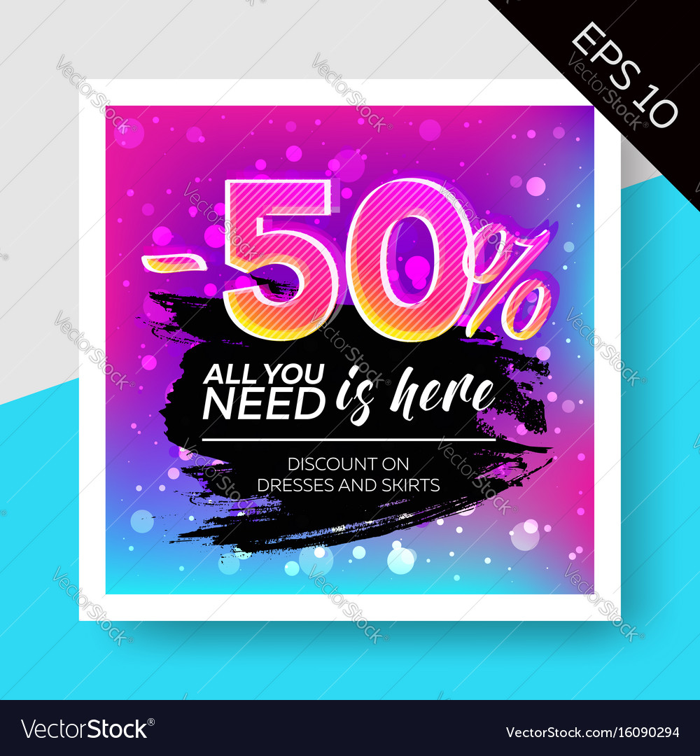 Expressive sale template with watercolor splash vector image