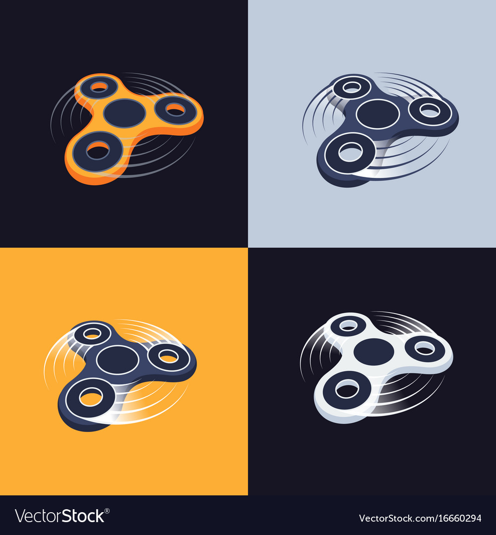 Fidget spinner logos set perspective view