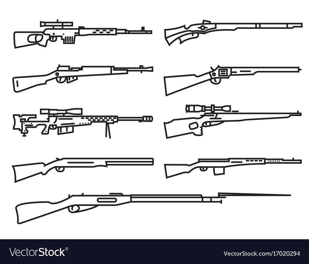 Firearm set gun rifle carbine flat design outline