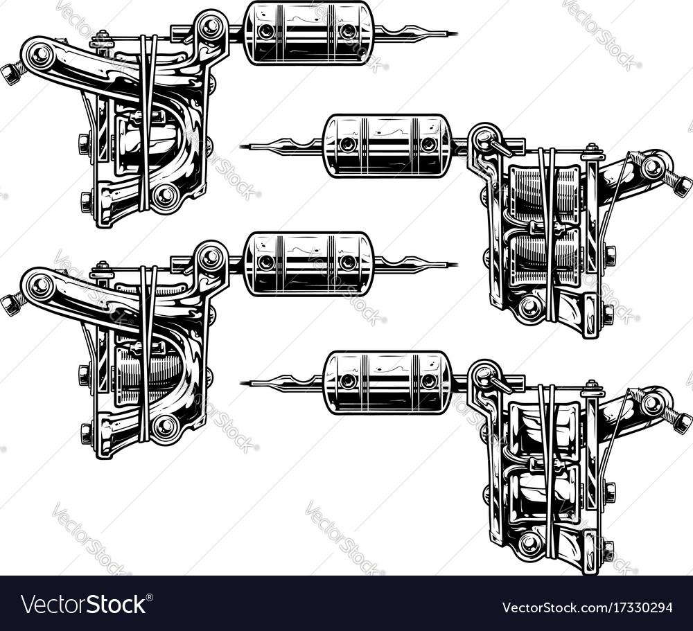 Graphic Black And White Tattoo Machine Set Vol 10 Vector Image Gun Diagram