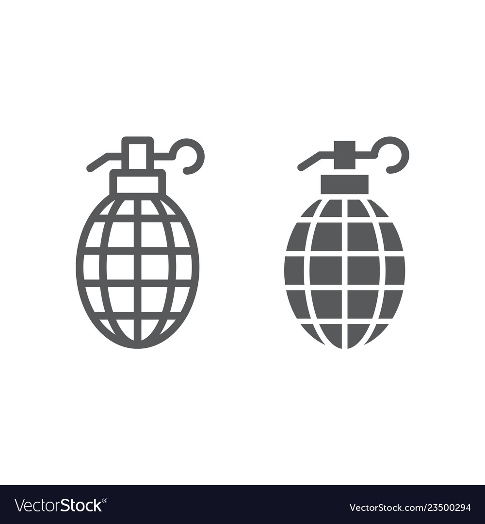 grenade line and glyph icon weapon and army bomb vector image  vectorstock