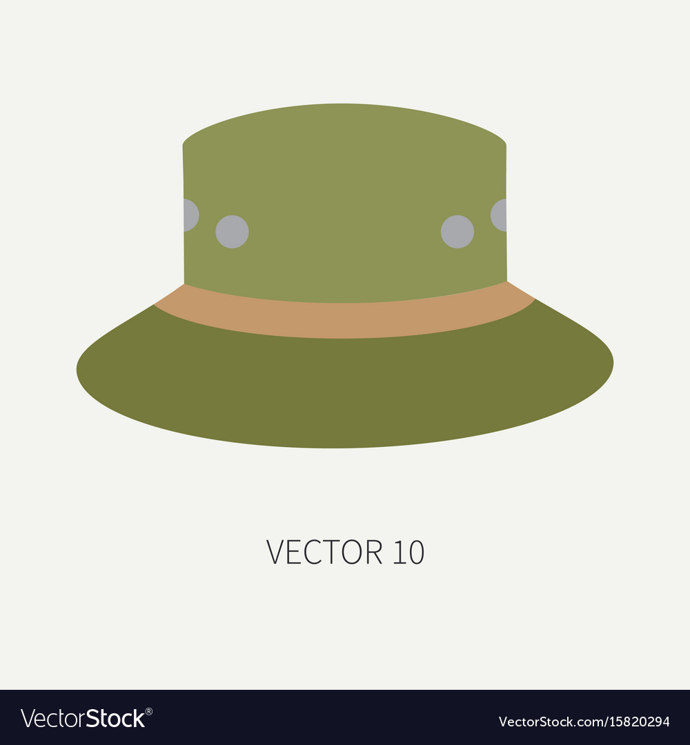 Line tile color hunt and camping icon hat
