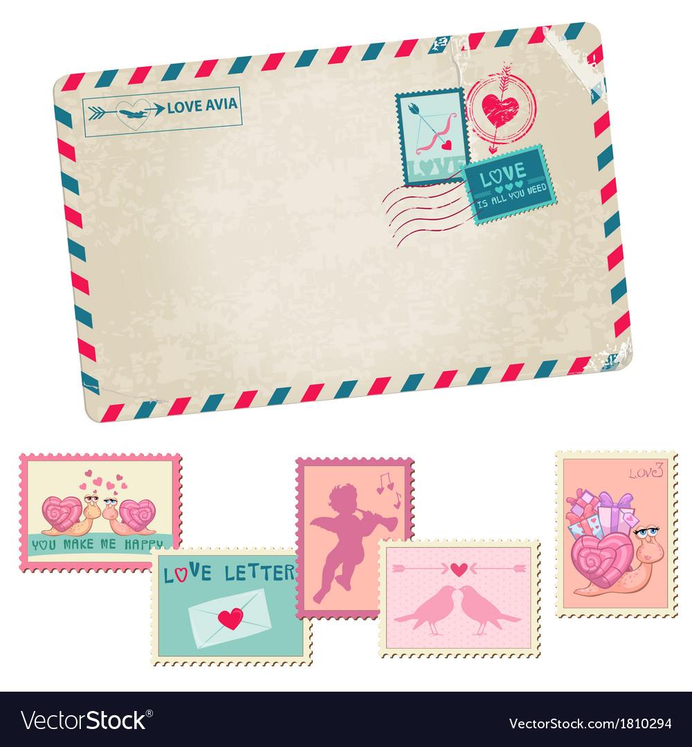 Love Letter Vintage Postcard Vector Image