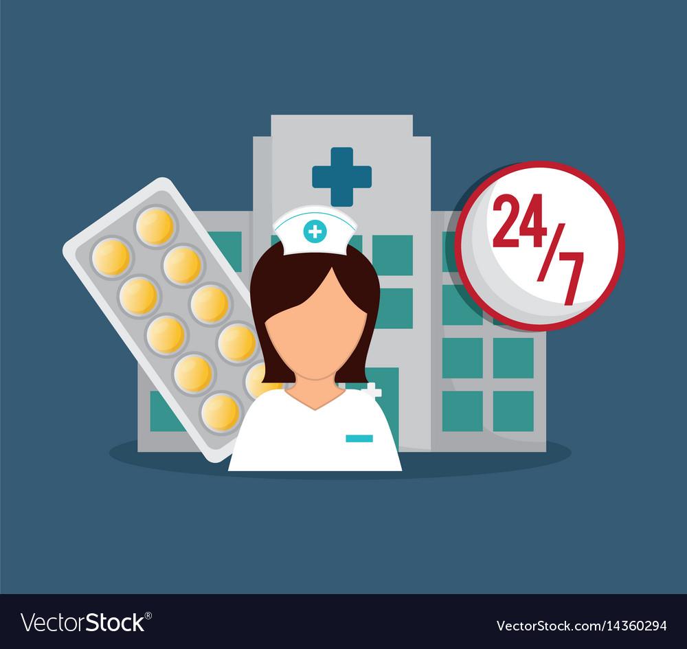 Nurse medical hospital medicine service 24-7 vector image