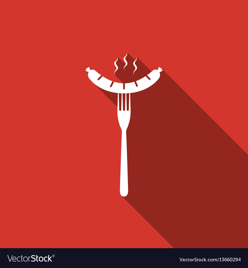 Sausage on fork flat icon with long shadow vector image