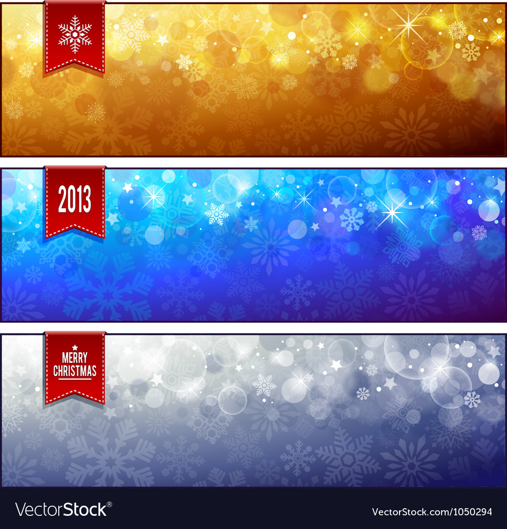 Set of horizontal luminous Christmas banners