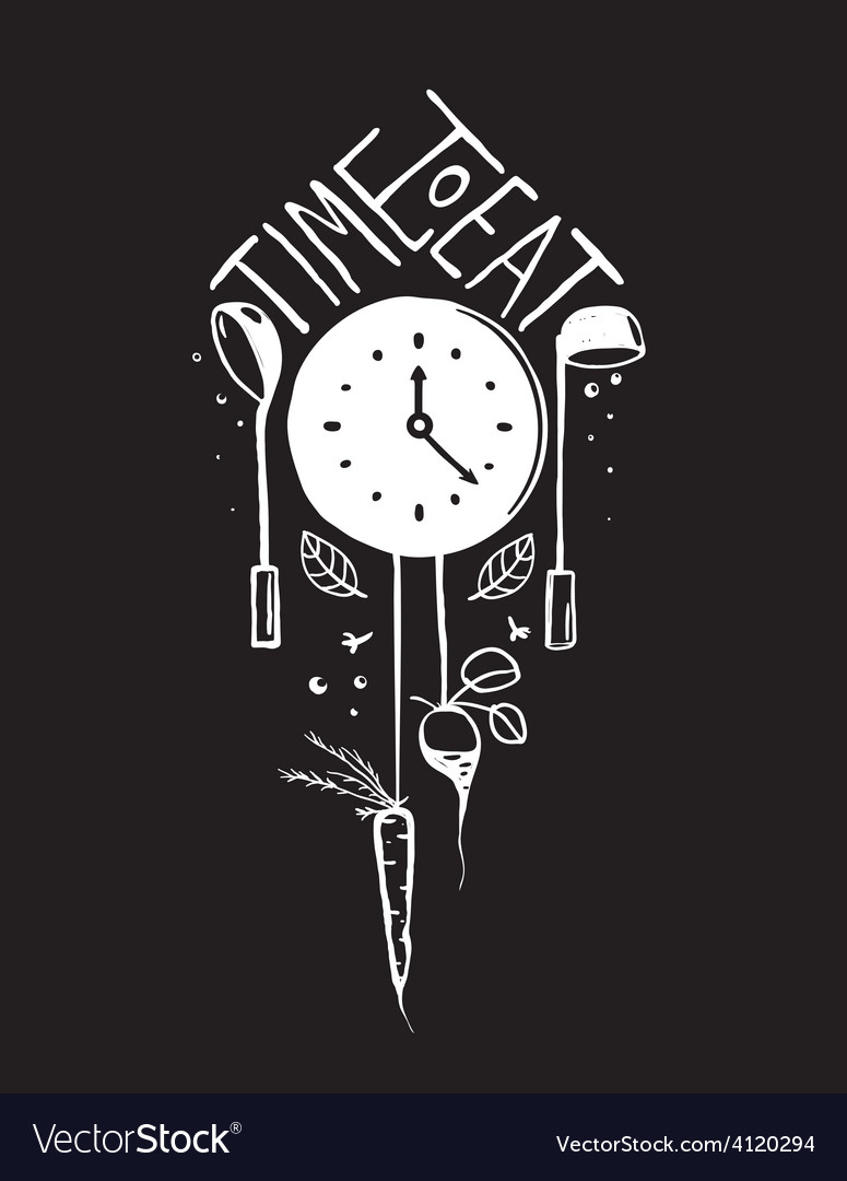 Time to Eat Sign and Label Monochrome Design on