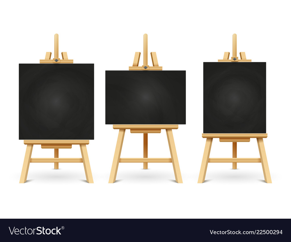 Wood chalk easels or painting art boards isolated