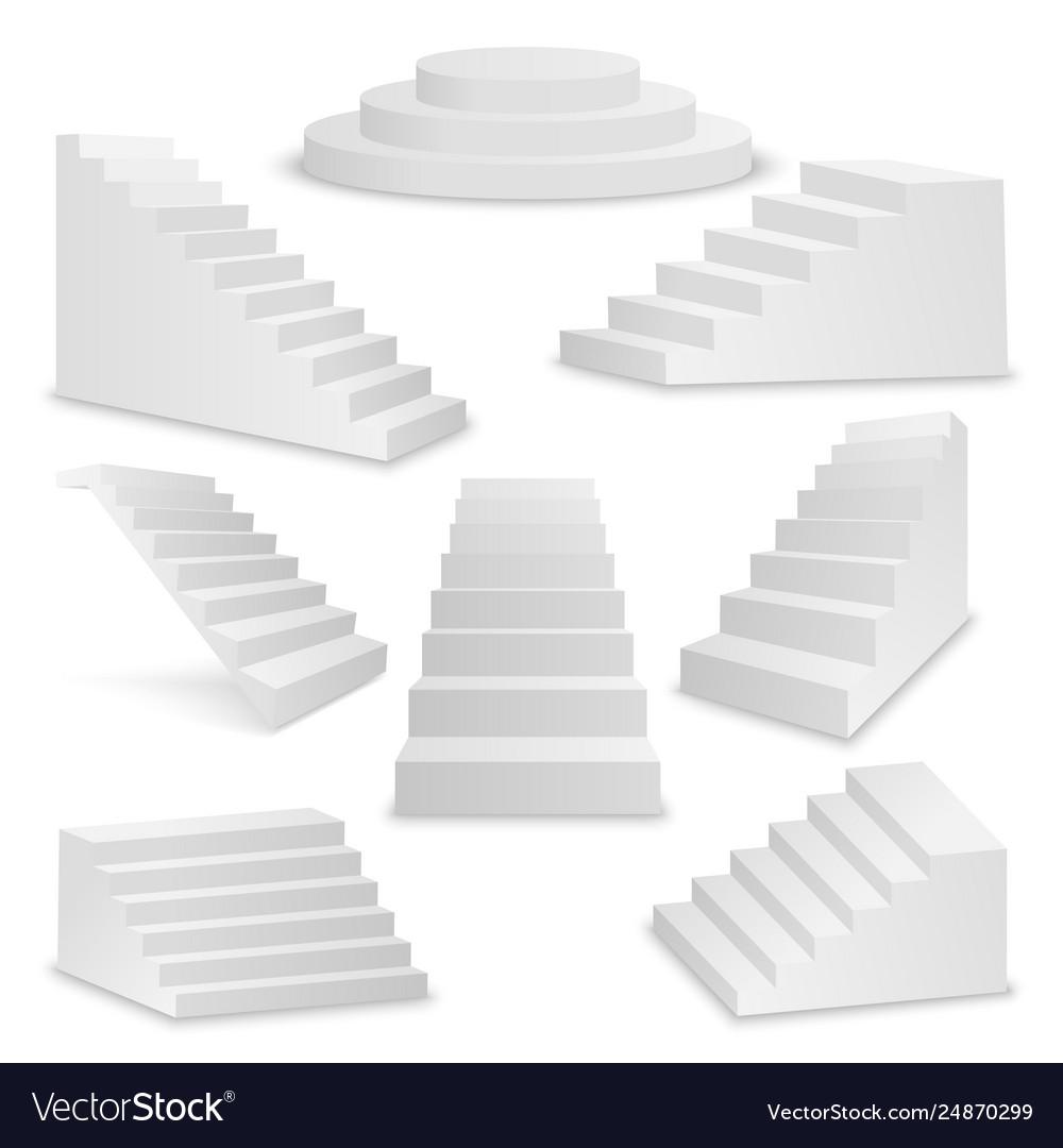 3d realistic white stairs icon set closeup