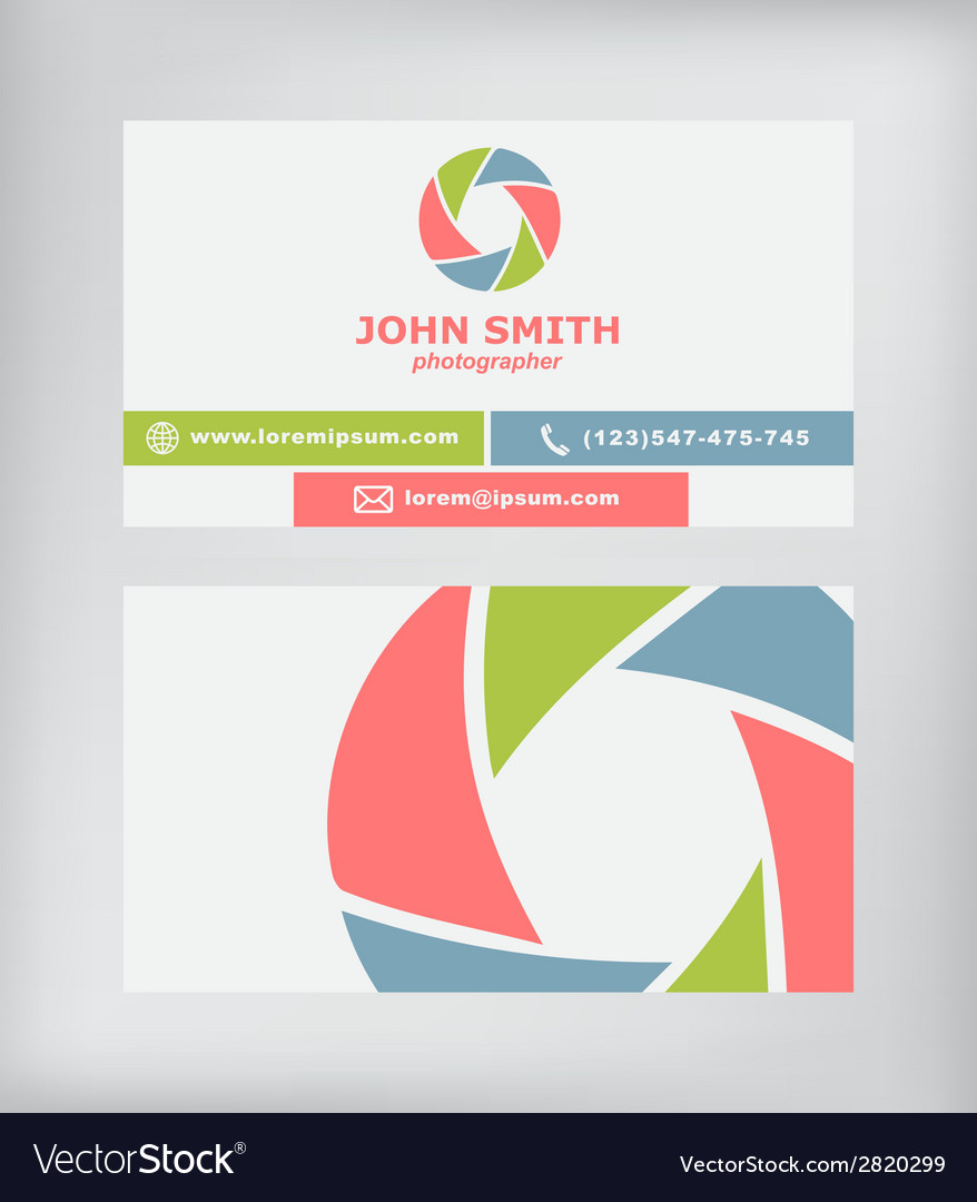 Business card photographer royalty free vector image business card photographer vector image reheart Image collections