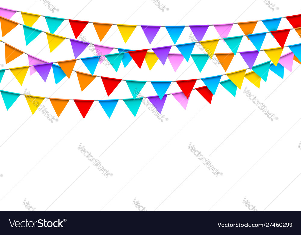 Carnival garlands with colorful flags festive