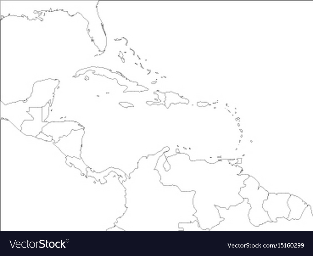 Central america and carribean states political map