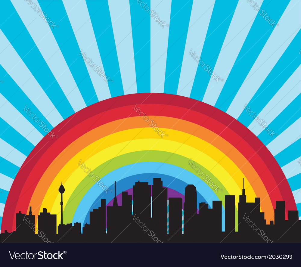 City and rainbow vector image