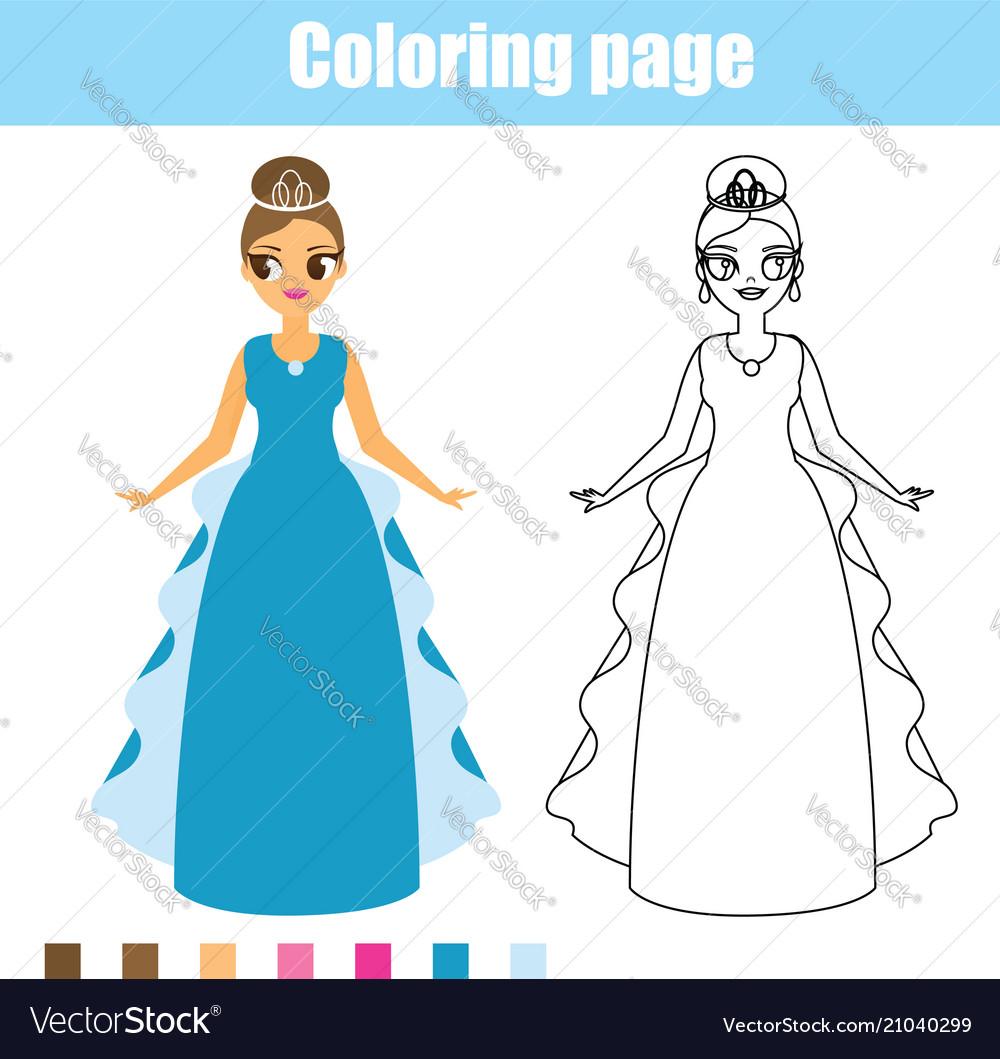 Coloring page princess educational game Royalty Free Vector