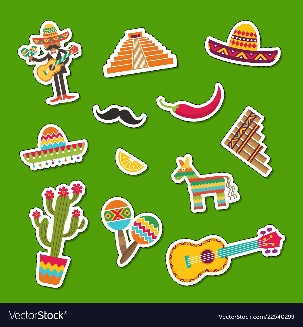 Flat mexico attributes sticker set