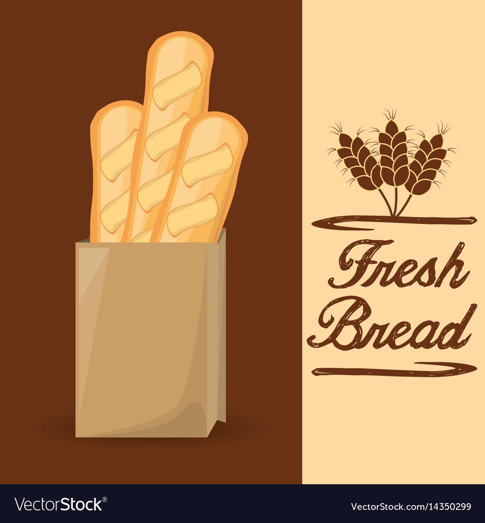 Fresh bread baguette food poster