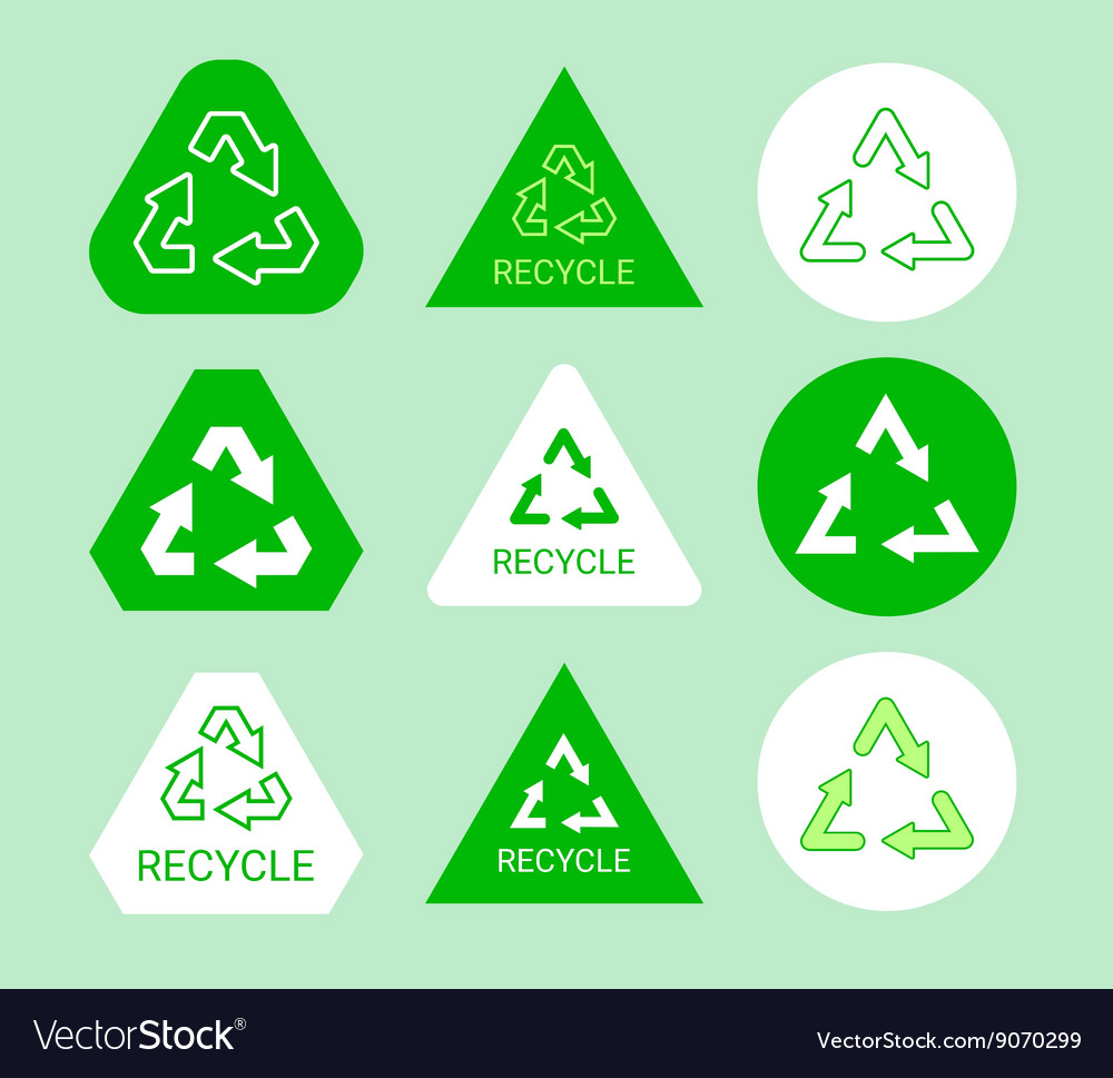 Green and white ecological recycle symbol sticker