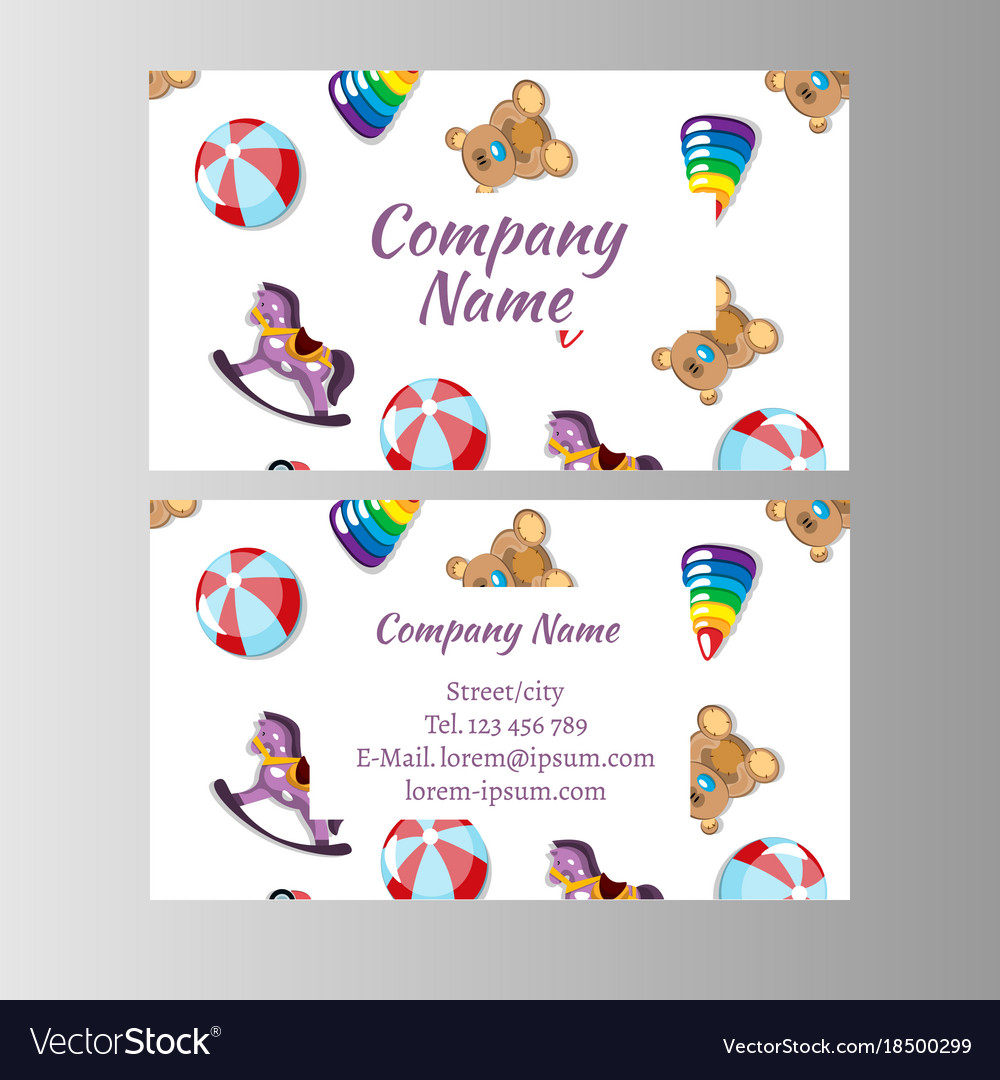 Kids store baby shop business card template Vector Image