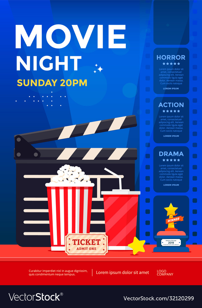 Movie night poster design template