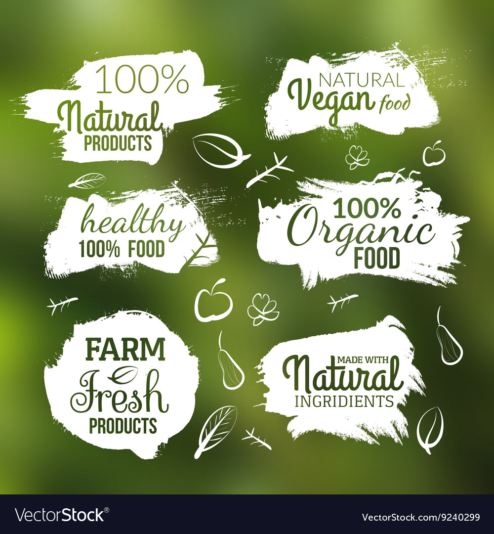 Natural organic food label Farm products