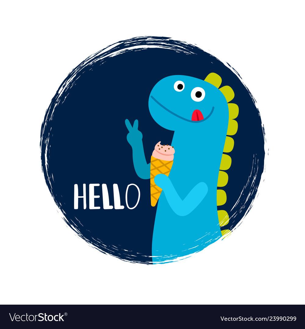 Round banner with baby dinosaur
