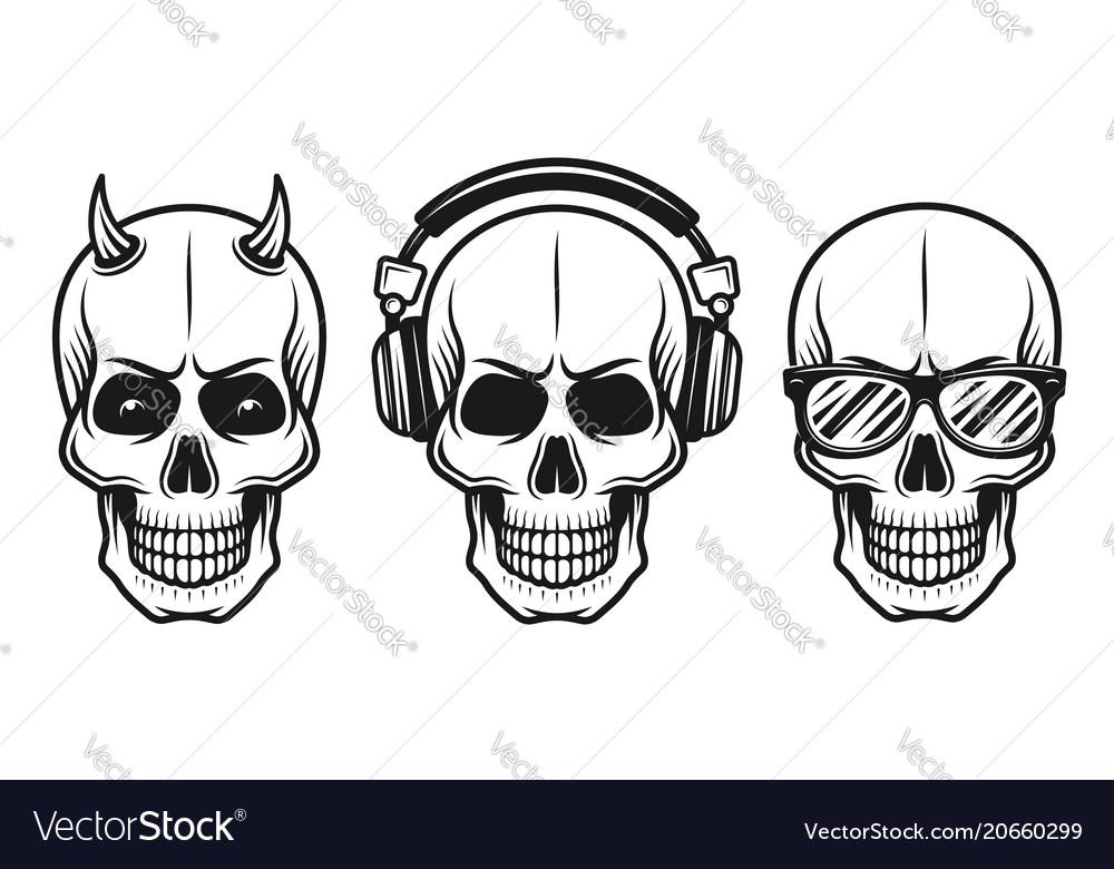 Set of three different skulls elements
