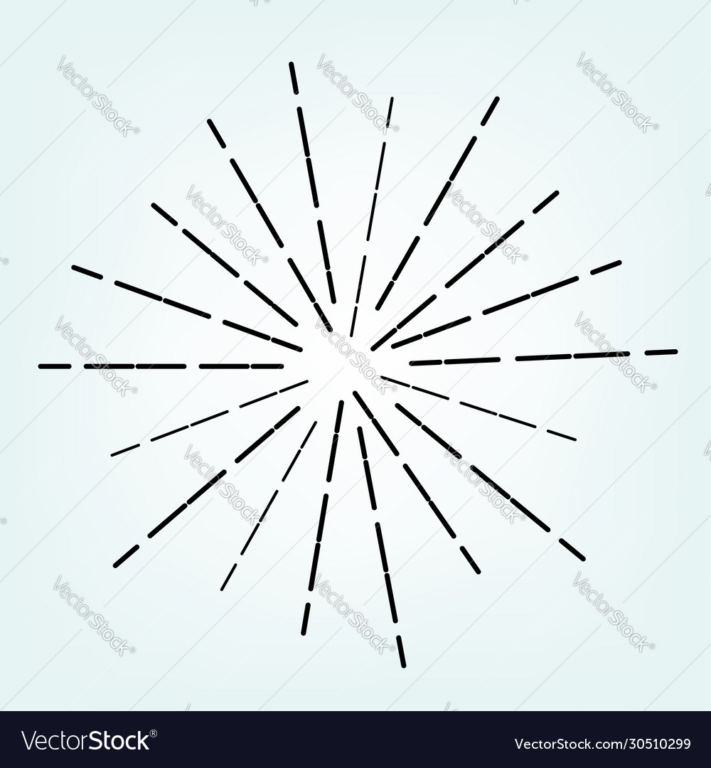 Vintage radial line sunburst graphic logo art