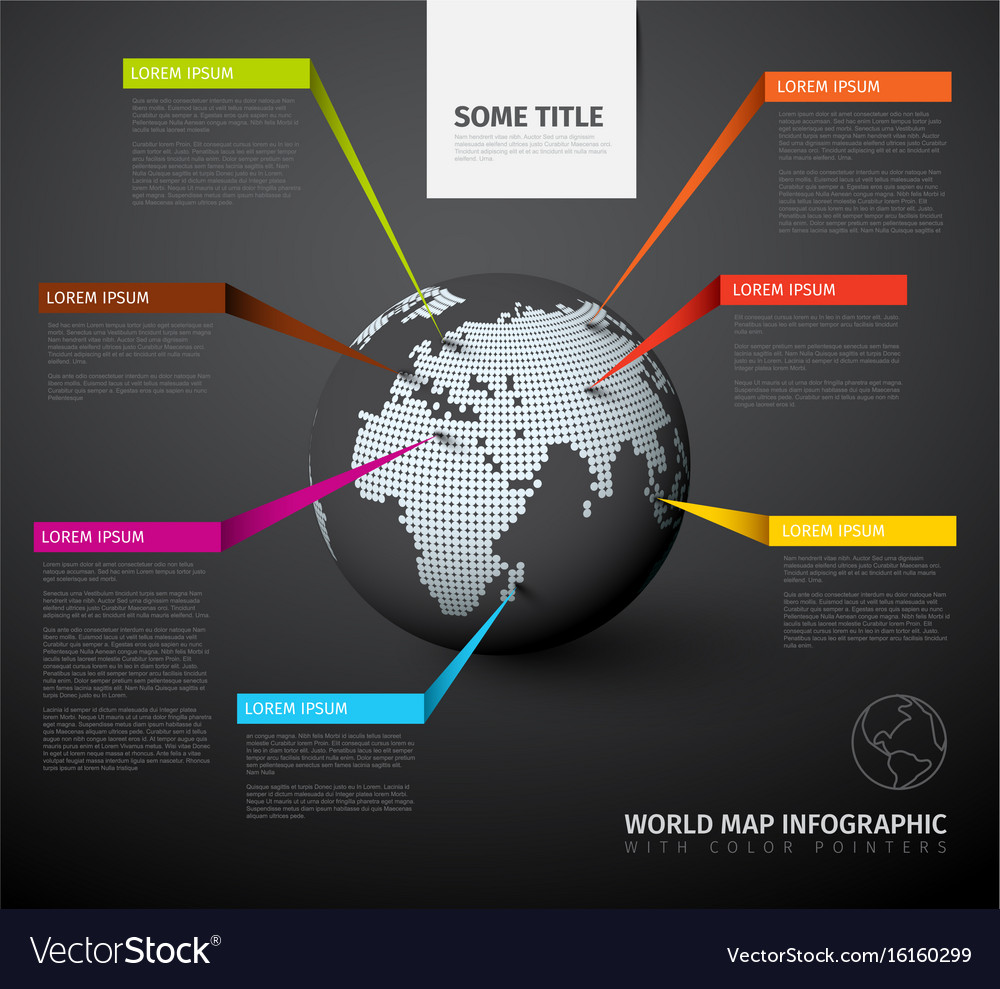 World map globe with pointer marks vector image