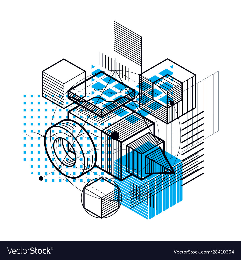 Abstract 3d shapes composition isometric