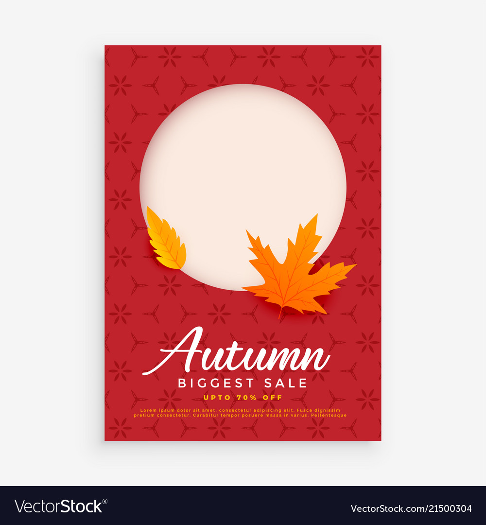 a60db2340 Autumn sale flyer design with space for image or Vector Image