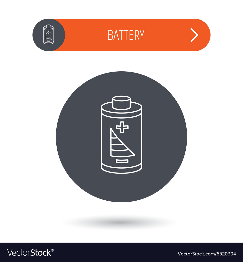Battery icon Electrical power sign Royalty Free Vector Image