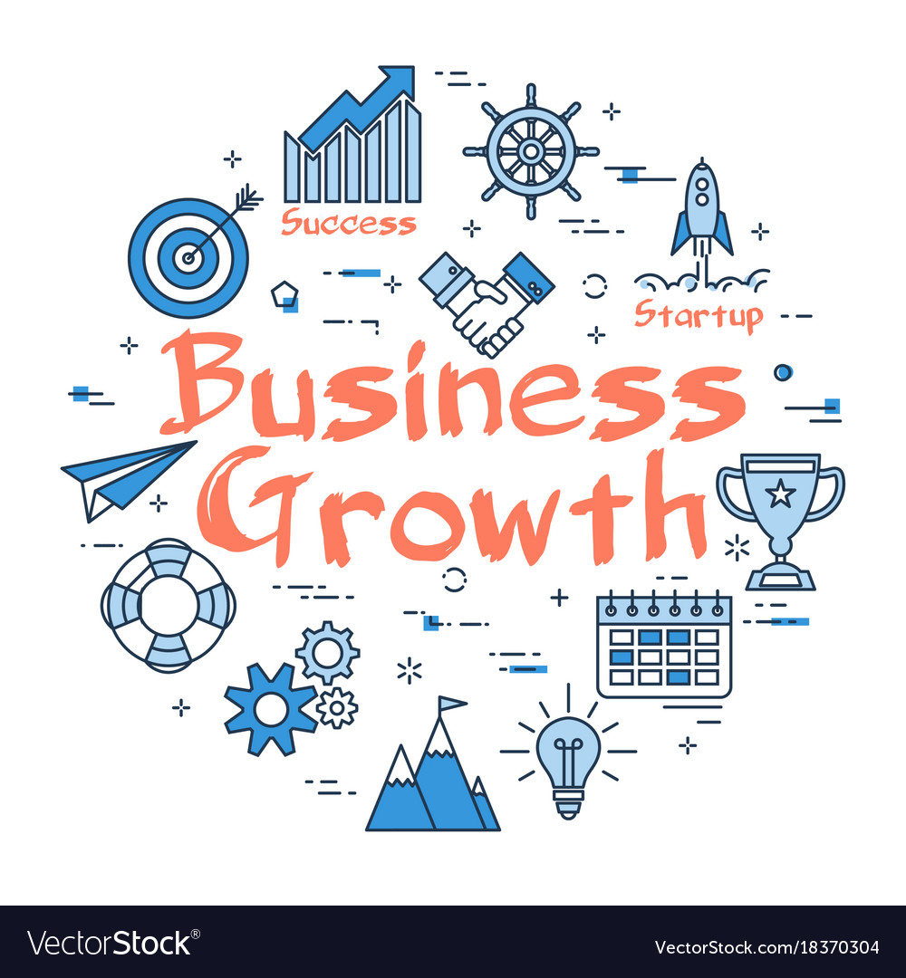 Blue round business growth concept