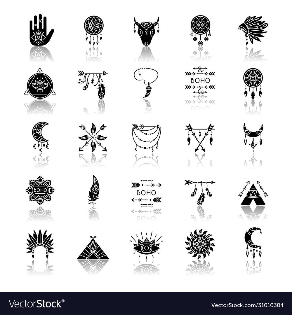 Boho style drop shadow black glyph icons set Vector ImageVectorStock