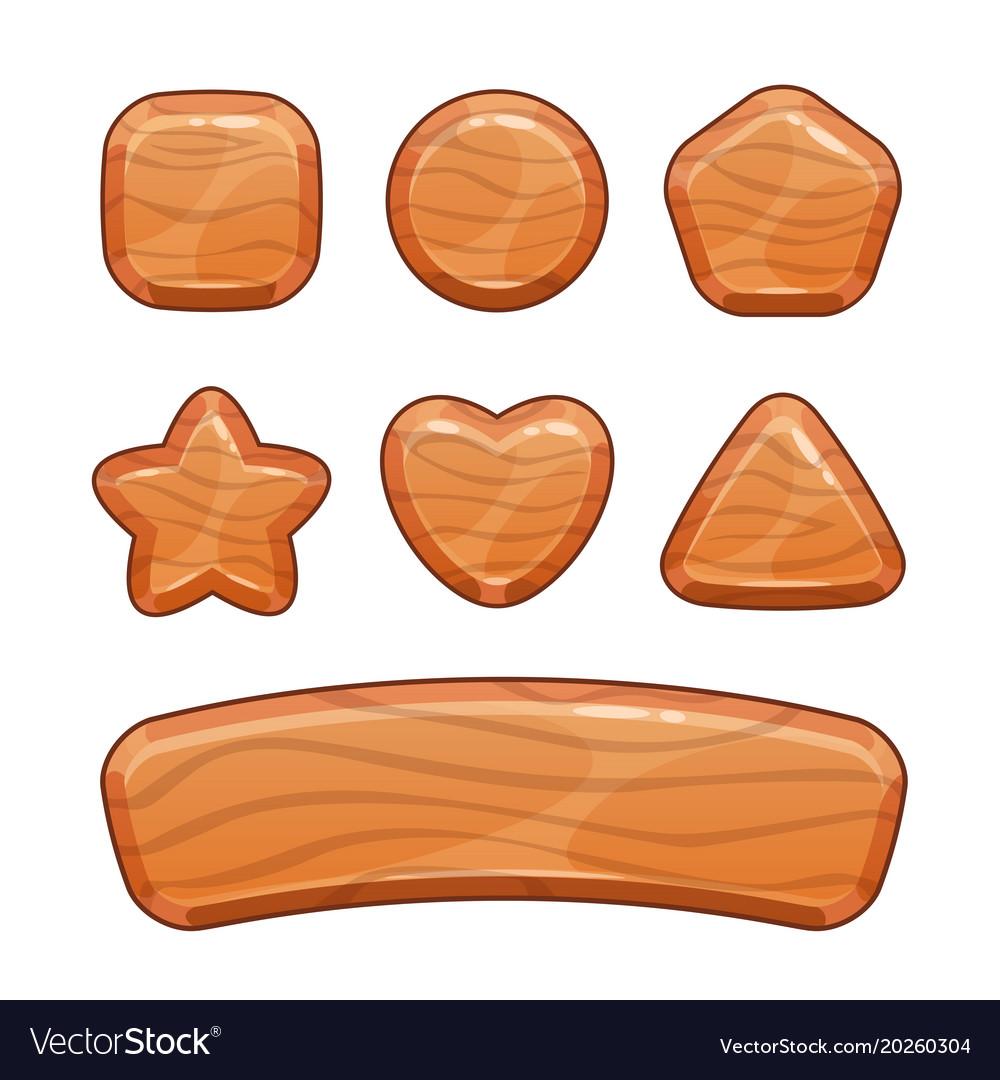 Cartoon wooden shapes set